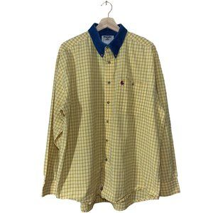 🚨 Vintage Wrangler Yellow Grid Shirt